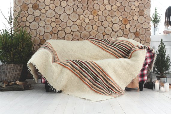 Image of Sheep Wool Blanket on Etsy