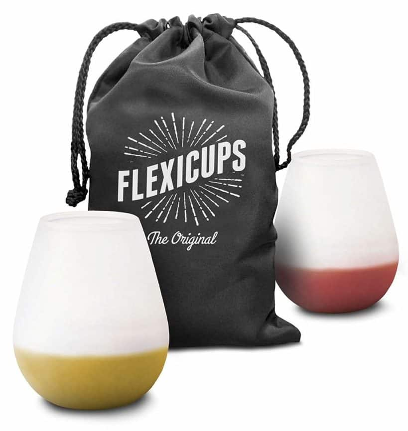 Image of Flexicups Silicone Camping Wine Glasses 12 Oz Set of 2 Shatterproof and Lightweight with Handy Carry Bag Perfect Cups for Picnics and Outdoor Parties