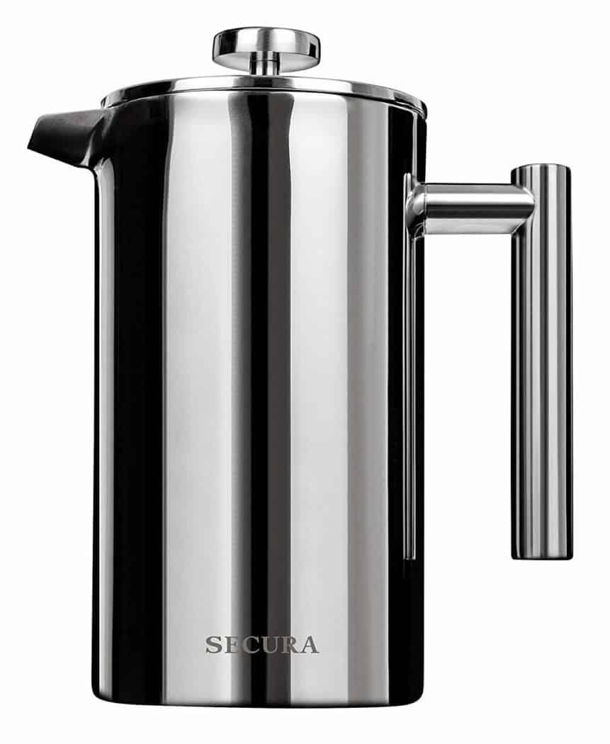Image of Secura Stainless Steel French Press Coffee Maker 18/10 Bonus Stainless Steel Screen (1000ML)