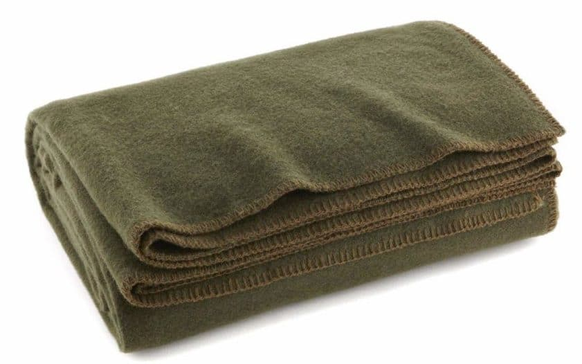 Image of Ever Ready First Aid Olive Drab Green Warm Wool Fire Retardent Blanket
