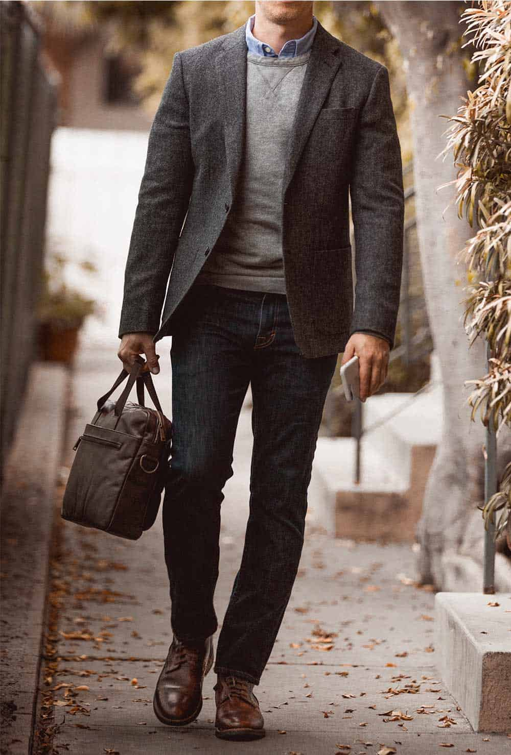 tweed blazer over sweatshirt with jeans and boots