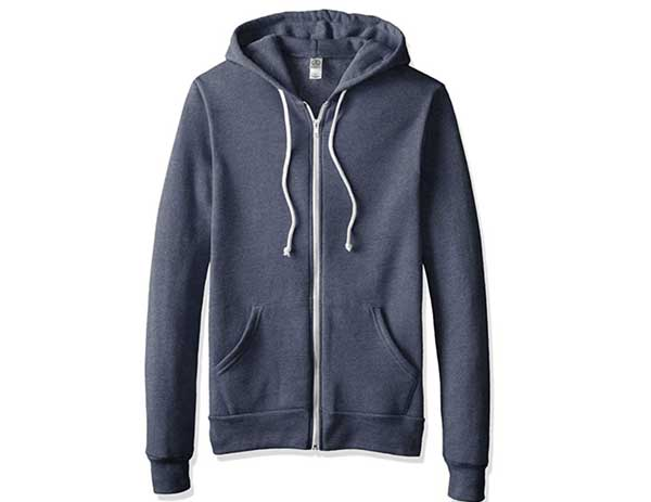 blue hoodie white zipper