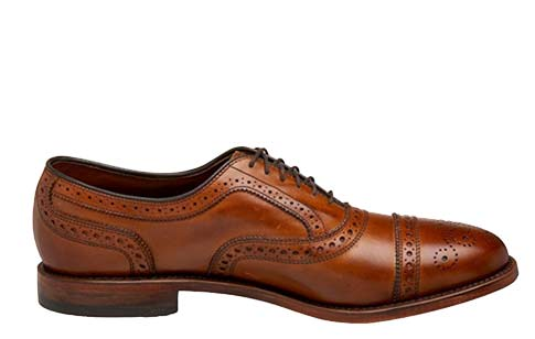 A brown leather shoe