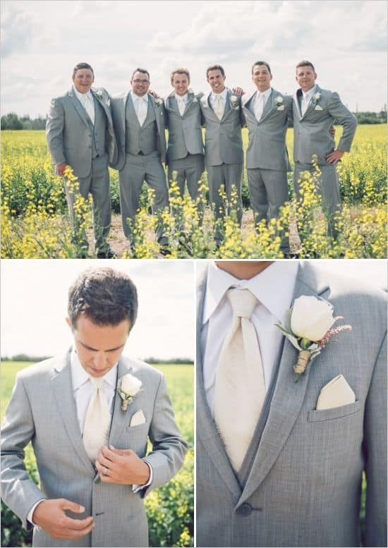 gray suit with cream tie wedding