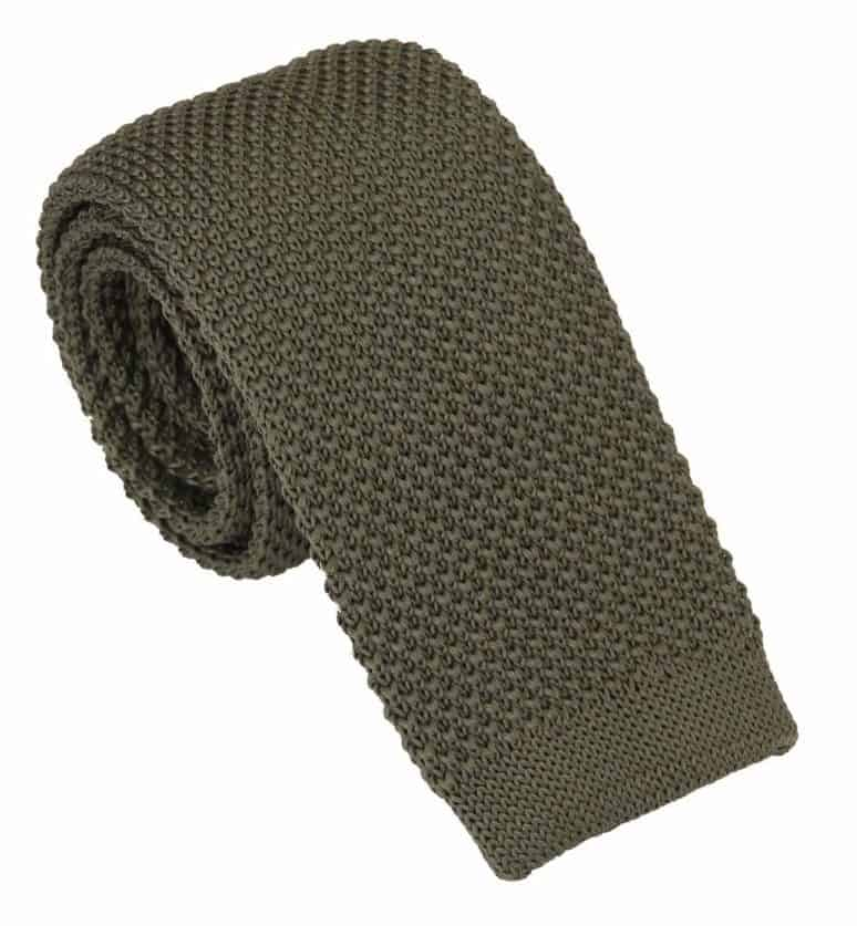 olive green knit tie