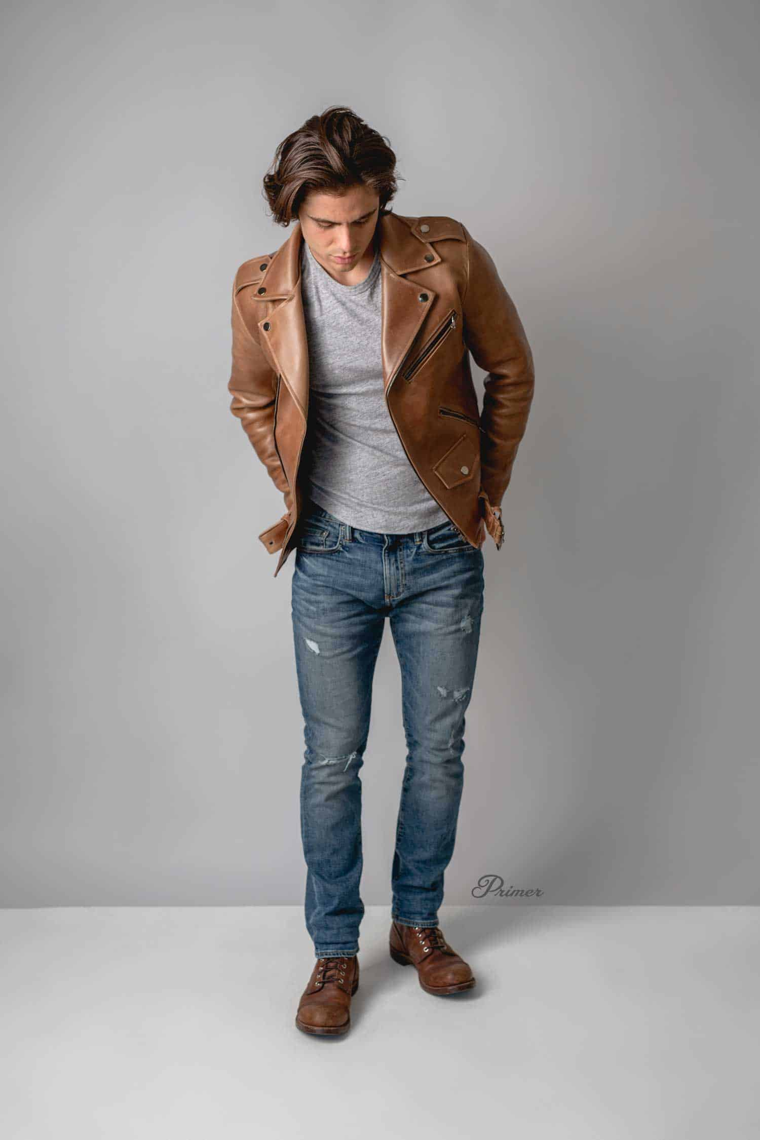 f22b48f628e leather jacket with t-shirt and jeans. Chromexcel Leather Jacket: Thursday  Boot Co. ...