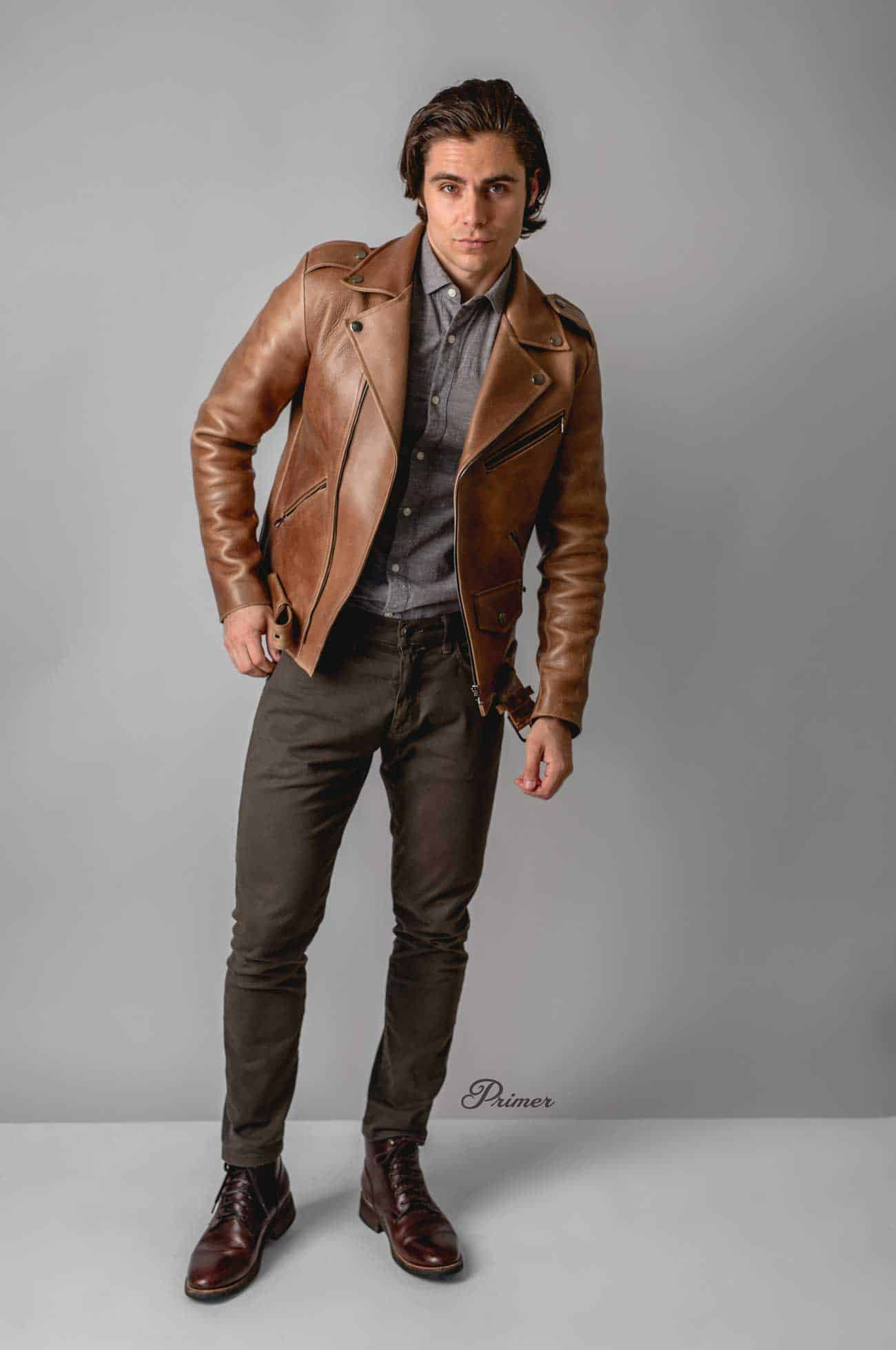 men outfit ideas leather jacket
