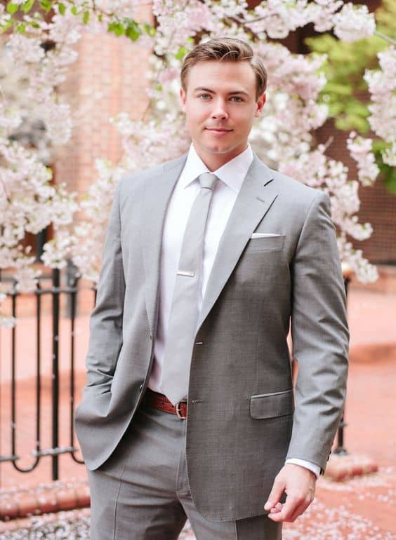light gray suit light gray tie white shirt groom wedding suit ideas