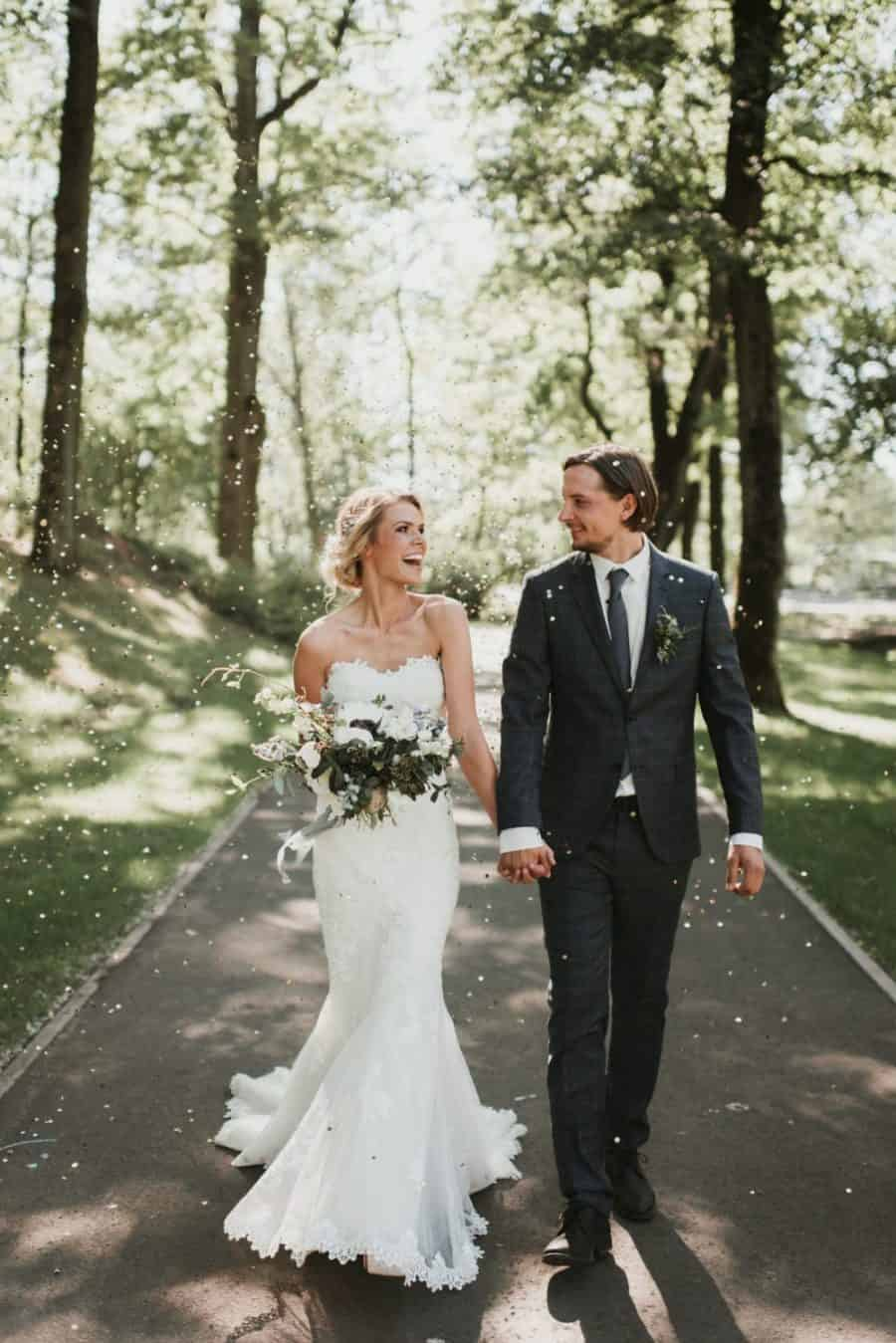 gray wedding suit with gray tie
