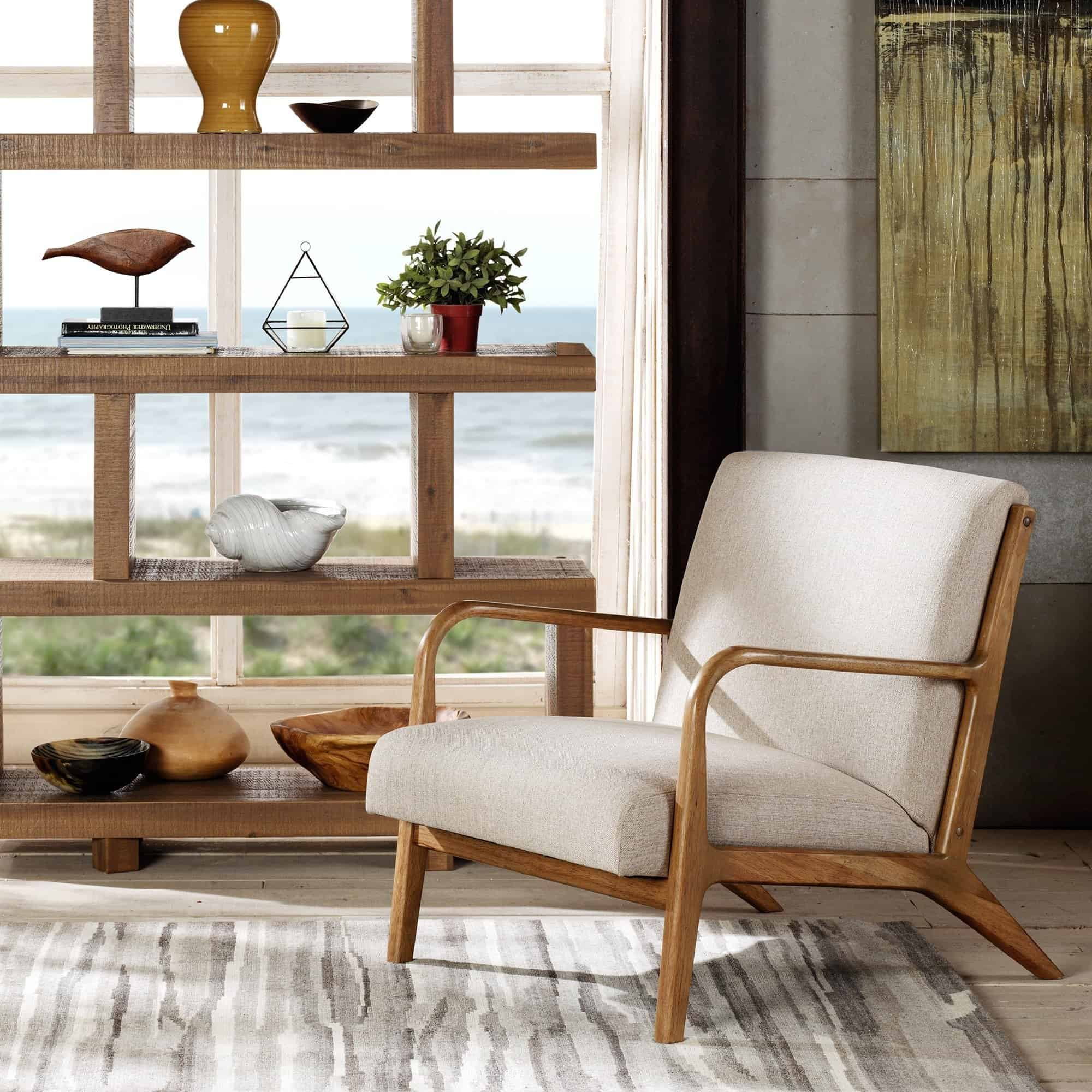 Image of INK+IVY Novak Cream/ Natural Lounge Chair