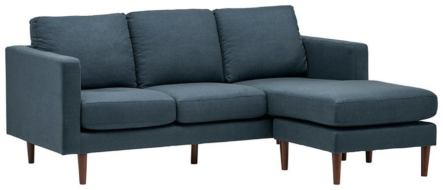 "Image of Rivet Revolve Modern Reversible Chaise Sectional, 80""W, Denim"