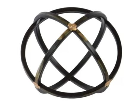 Image of Helfrich Orb Dyson Sphere Design Metal Sculpture with 3 Circles
