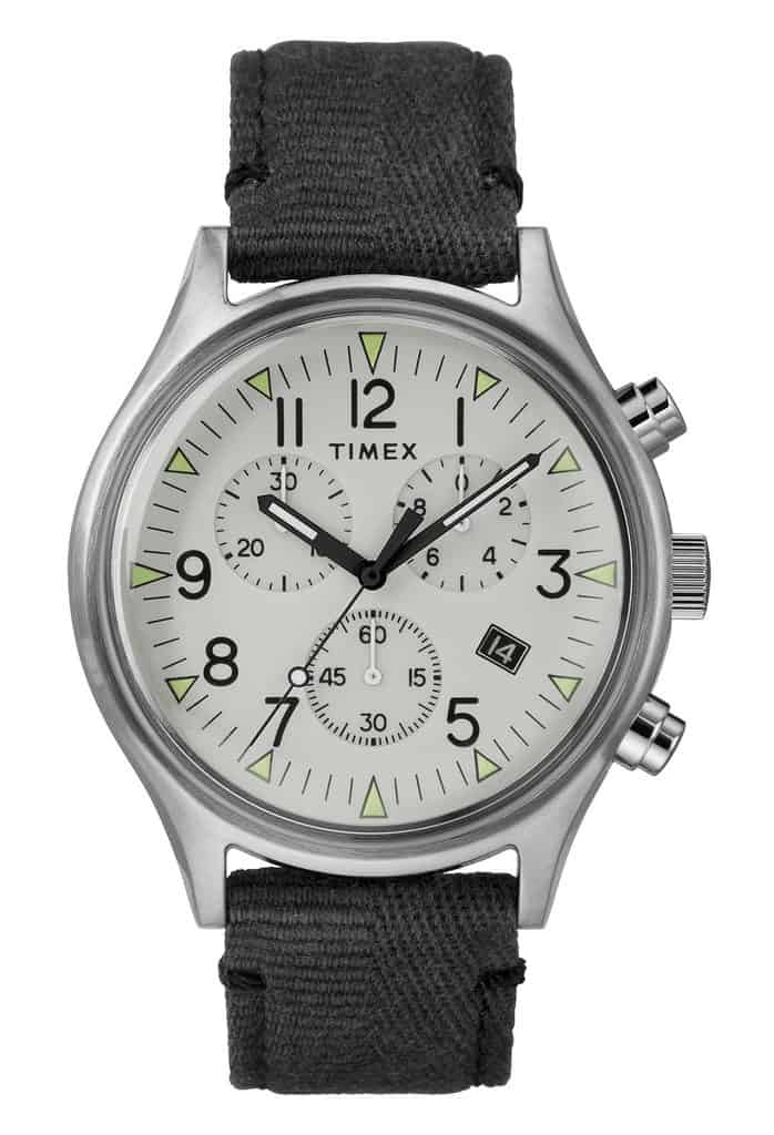 Timex watch with gray strap and white face
