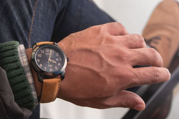 Timex watch with tan leather strap