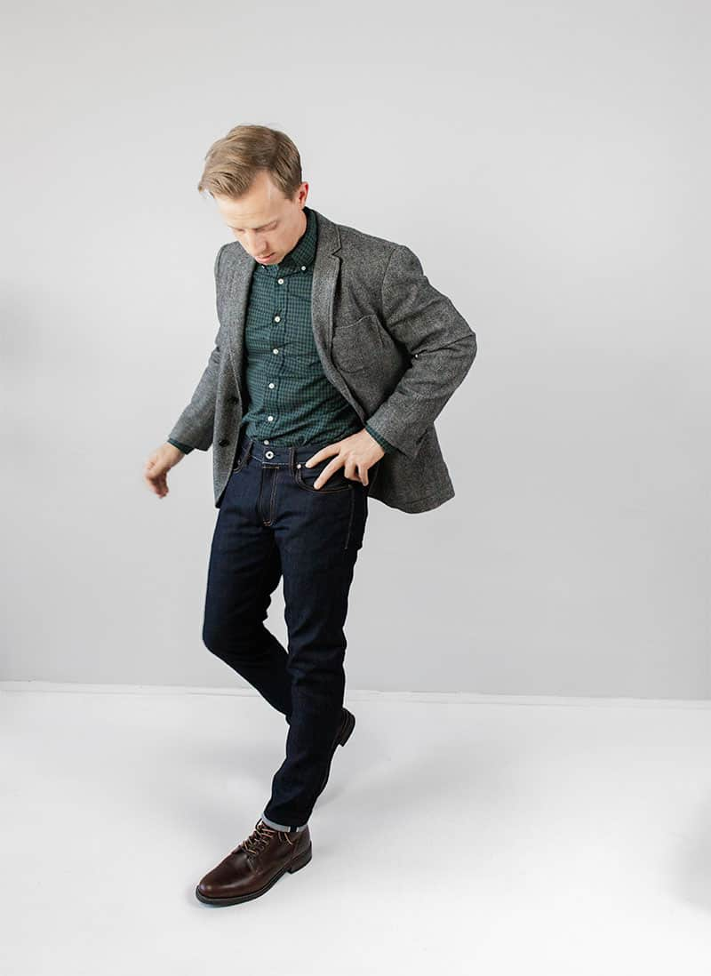 tweed jacket with jeans and boots outfit ideas men