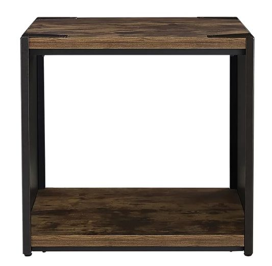 Image of Comet Steel Plate and Wood End Table