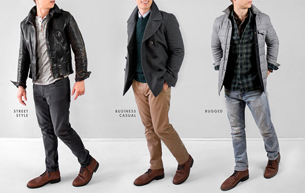 3 outfits 1 pair of brown leather boots