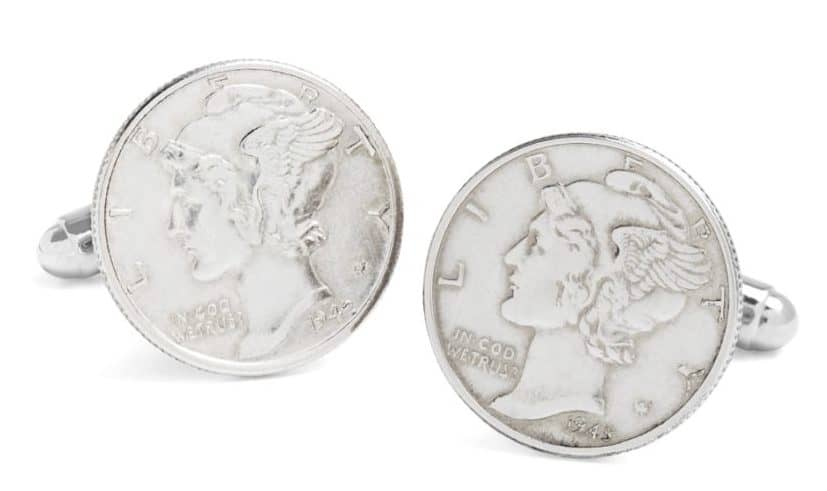 Image of Vintage Mercury Dime Cuff Links