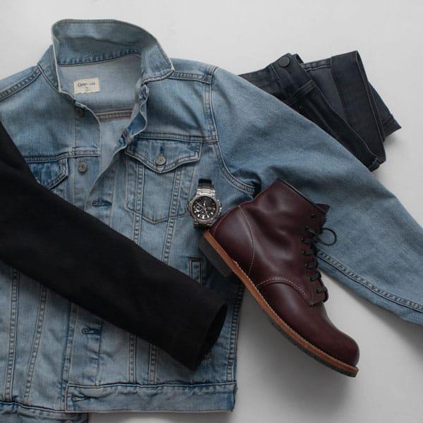 denim jacket red wing beckman boot g-shock mt-g