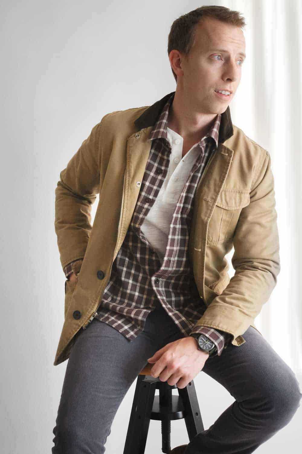 men fall winter layers outfit inspiration field jacket henley flannel