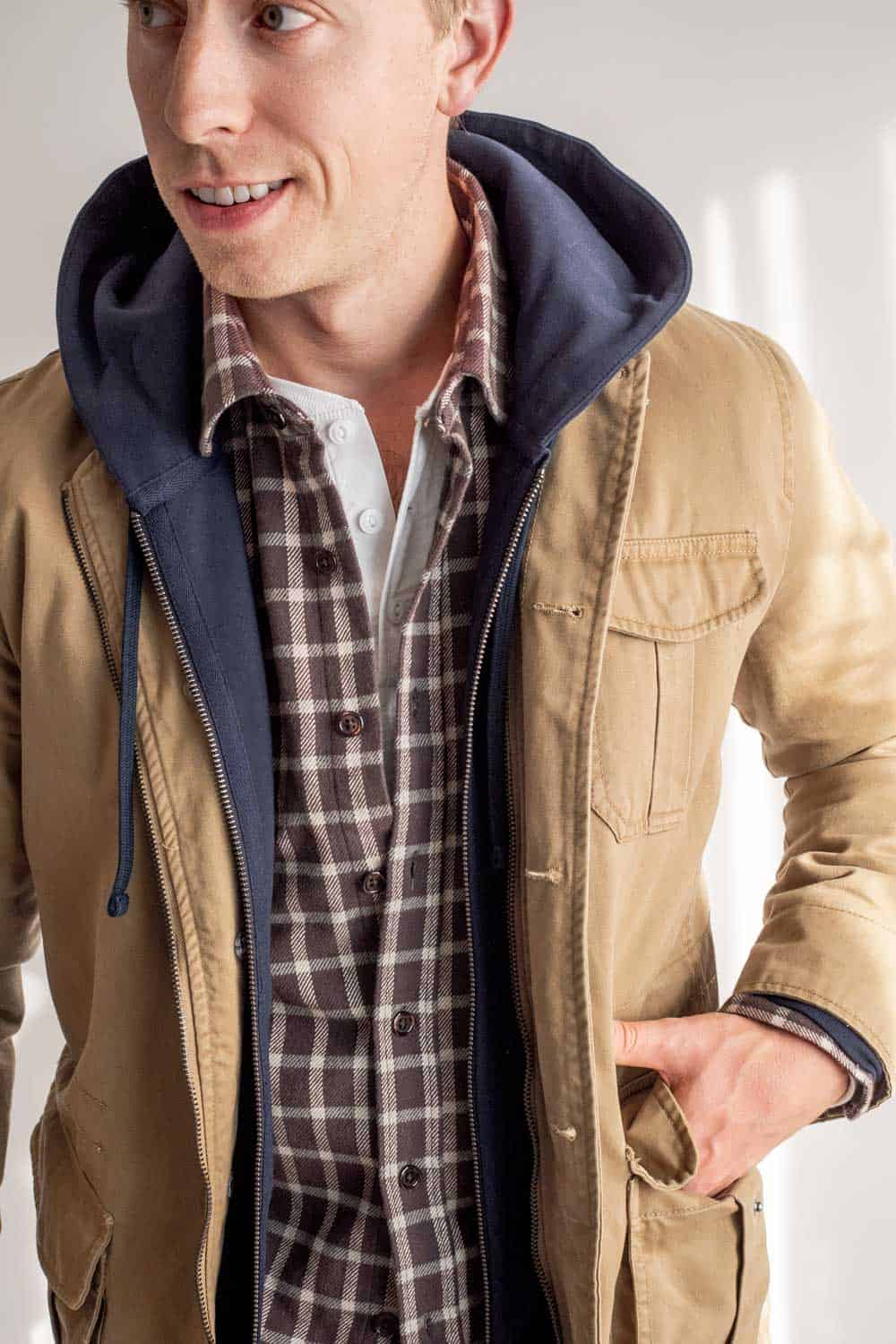 rugged mens layers - field jacket hoodie flannel henley