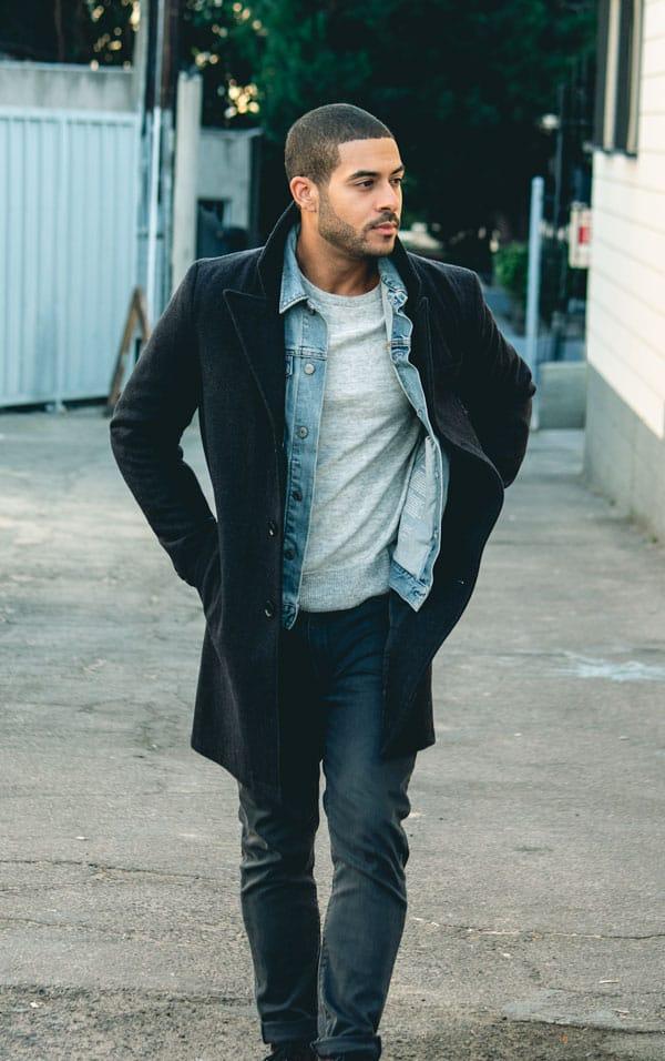 mens outfit inspiration walker coat denim jacket gray crew sweatshirt