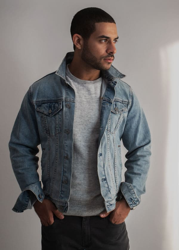 light denim jacket crew sweater