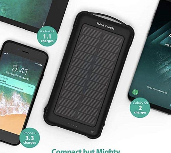 Image of Solar Charger RAVPower 10000mAh Outdoor Battery Pack with iSmart 2.0 and Dual Input (Solar and Outlet), Shockproof Solar Power Bank with LED Flashlight for iPhone, Galaxy, Android, and More
