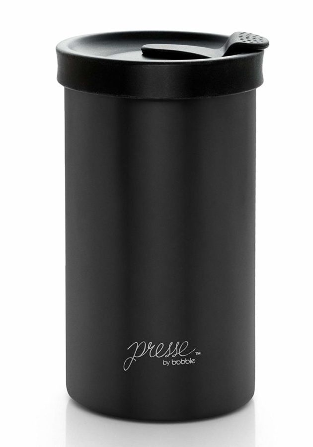 Image of Presse by bobble Coffee & Tea Maker, Press Coffee Maker, Travel Tumbler, Stainless Steel, On the Go Brewer, Brew Press & Go, Portable Coffee Brewer and Tumbler in One, 13 oz., Black