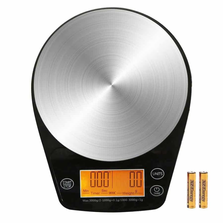 Image of ERAVSOW Digital Hand Drip Coffee Scale Stainless steel precision sensors Kitchen Food Scale With Timer Weight LCD Display & Hanger Hole 6.6lb/3kg Black Batteries Include