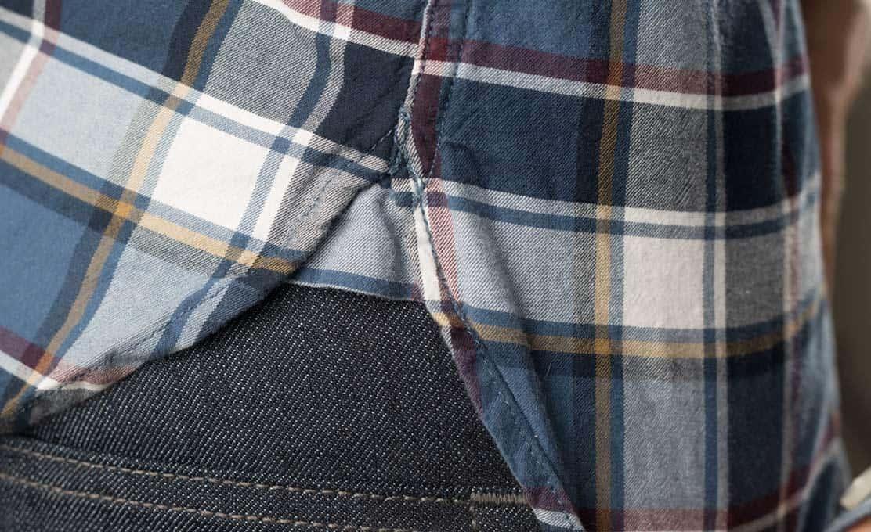 A close up of a shirt gusset