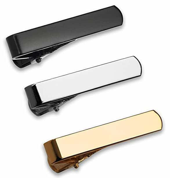 Image of GQ The 3 Pc Tie Bar Set Pinch Clasp 1.1 Inch for Trendy Skinny Ties, Silver, Gold Tone and Black Gift Boxed