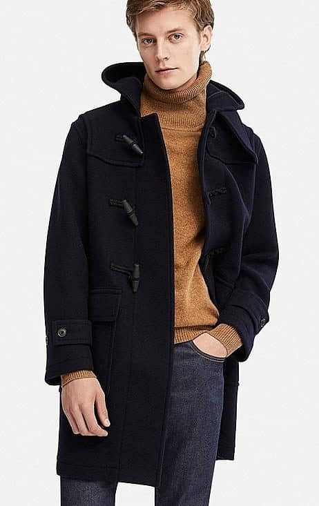 Image of MEN WOOL-BLEND DUFFLE COAT