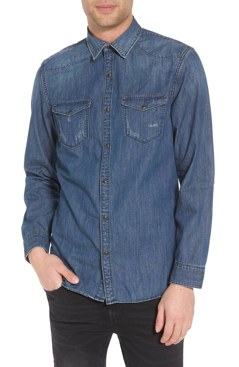 Image of Western Denim Sport Shirt