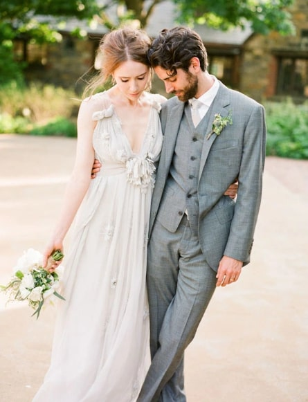 gray suit wedding
