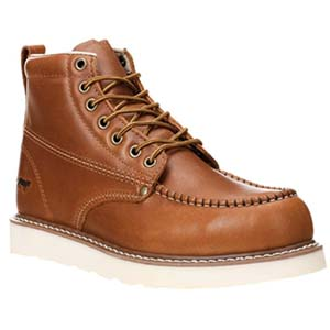 "Image of Golden Fox Work Boots 6"" Men's Moc Toe Wedge Comfortable Boot for Construction"