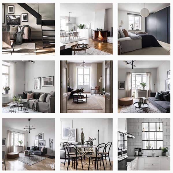 9 photos showing interior photos on instagram