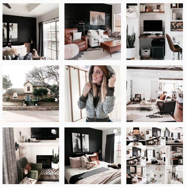 A grid of interior instagram photos