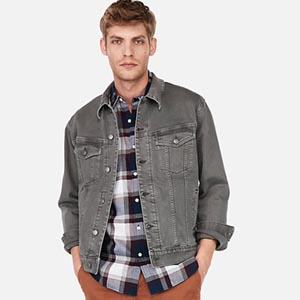 Image of Gray Stretch Denim Trucker Jacket