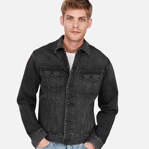 Image of Black Denim Trucker Jacket