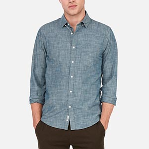 Image of Slim Chambray Soft Wash Button-Down Shirt
