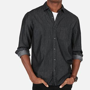 Image of Classic Black Denim Soft Wash Button-Down Shirt