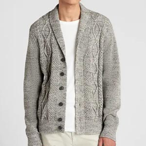 Image of Cable-Knit Shawl Cardigan Sweater