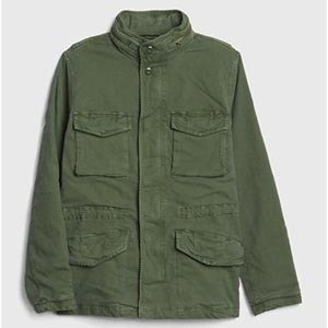 Image of Military Jacket with Hidden Hood
