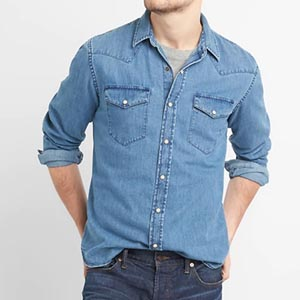 Image of Slim Fit Denim Western Shirt