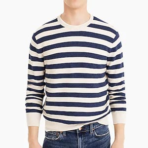 Image of Cotton crewneck sweater in striped garter stitch