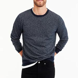 Image of Cotton-cashmere piqué crewneck sweater in bird's-eye stitch