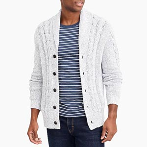 Image of J.Crew Factory Chunky cardigan sweater in marled cotton