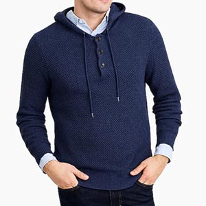 Image of Cotton henley hoodie sweater