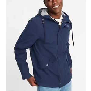 Image of Water-Resistant Poplin Hooded Anorak for Men